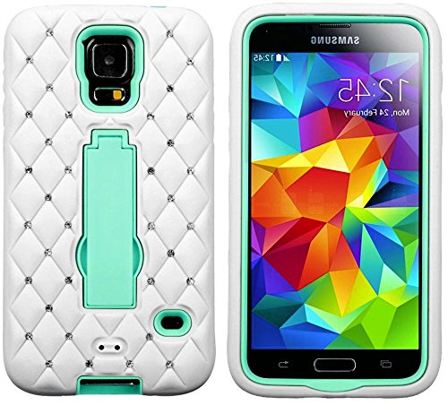 myLife Bright White and Turquoise Blue - Diamond Shock Suit Survivor Series Built in Kickstand Easy Grip Silicone 3 Piece 2 Layer Case for NEW Galaxy S5 5g Smartphone By Samsung External Flex Silicone Bumper Gel Internal 2 Piece Rubberized Snap Fitted Armor Protector Shock Absorbing Material