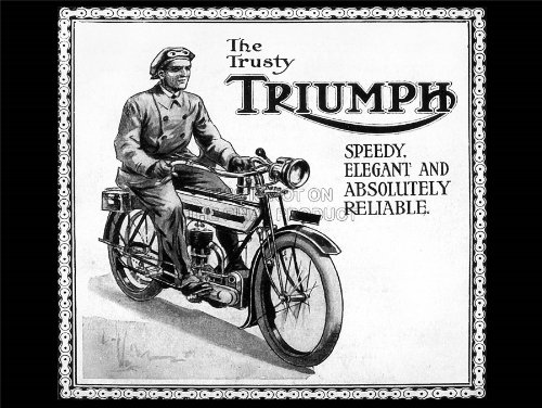 TRIUMPH MOTORCYCLE VINTAGE UK VINTAGE ADVERTISING POSTER RETRO ART PRINT 12x16 inch 30x40cm 1555PY
