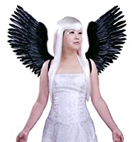 FashionWings (TM) Black Open Swing V Shape Costume Feather Angel Wings Adult Unisex by FashionWings