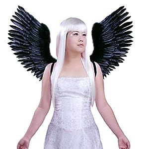 FashionWings (TM) Black Open Swing V Shape Costume Feather Angel Wings Adult Unisex by FashionWings