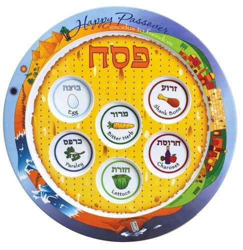 "Amazing Multi Color Low Price Melamine Seder Plate ""Exodus To Freedom"" 12"" Diameter"