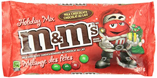 M&M's Milk Chocolate Red and Green Christmas Laydown Bag Chocolate Pack, 357gm