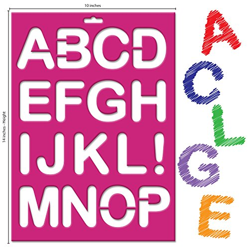 Karty Stencils - Set of 3 Ultra Durable Large ABC Lettering Stencils- Includes 26 Letters, 10 Numbers, 11 Symbols - Large Alphabet & Numeral Characters - Best Quality on the Market (Screen Printing Number Stencils compare prices)
