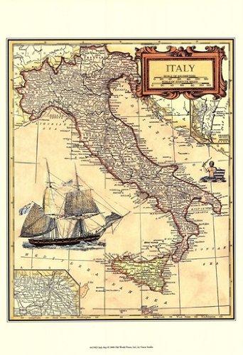 Vision studio - Italia Mappa Stampa Artistica (33,02 x 48,26 cm)