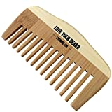 HIGH QUALITY Wooden Bamboo Beard and Mustache Comb by Leven Rose - #1 TRUSTED in Beard Care - Static Free, No Snags - Perfect for a Beard Comb Kit - Get the Groomed Beard Look - Pure Bamboo Wood