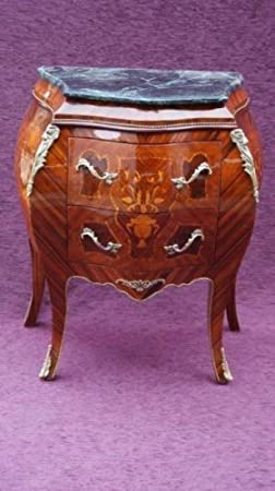 Casa Padrino Baroque chest of drawers with marble top inlaid Brown H 81 cm, W 70 cm - Model Mahogany - bedside table