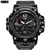 SMAEL Men's Sports Analog Digtal Wrist Watch Dual Quartz Movement Military Time Water Resistant with Backlight (Grey) (Color: Grey)