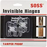 "SOSS Mortise Mount Invisible Hinges with 4 Holes, Zinc, Satin Chrome Finish, 1-11/16"" Leaf Height, 3/8"" Leaf Width, 29/64"" Leaf Thickness, #5 x 3/4"" Screw Size (1 Pair)"