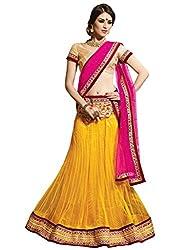 Inddus Women Yellow & Pink Unstitched Embroidered Lehenga Choli