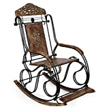 Desi Karigar Wrought Iron Beautifull Carved iron rocking chair/relax chair/ thinking chair
