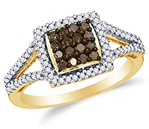 Size 10 - 10K Yellow Gold Chocolate Brown & White Round Diamond Halo Circle Engagement Ring - Channel Set Square Princess Center Setting Shape (1/2 cttw.)
