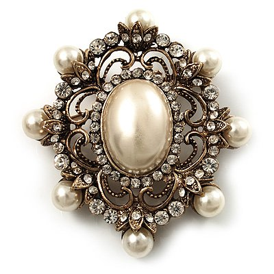 Antique Gold Filigree Ivory Pearl Corsage Brooch