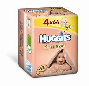 Huggies Lingettes Soft Skin Format Quatro 4 x 64 Lot de 2