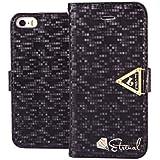 MOONCASE iPhone 5S H�lle Bookstyle Leder Tasche Flip Case Cover Schutzh�lle Etui Schale f�r iPhone 5 5S Schwarz