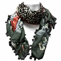 Luxury Divas Grey Multi-colored Floral & Animal Square Scarf
