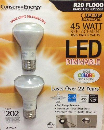 feit-8-w-r20-led-dimmable-lumiere-lot-de-2-ampoules-45-w-equivalent-a-un