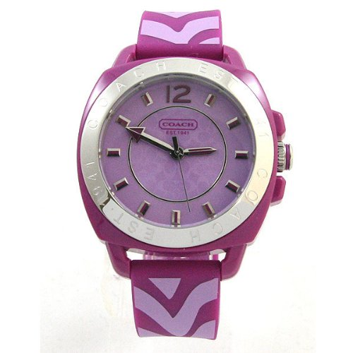 Coach Womens Purple Boyfriend Silicone Rubber Zebra Strap Watch 14501623