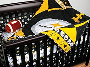 Nfl Pittsburgh Steelers 4pc Football Crib Bedding Set 60 3