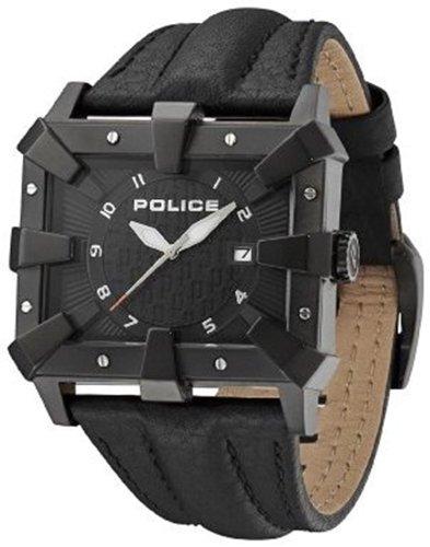 64f1e2b3f Police Men s PL 13400JSB 02 Defender Black IP Leather Date Watch ...