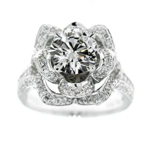 2.60 CARAT NATURAL DIAMOND ENGAGEMENT RING F SI1 18K WHITE GOLD