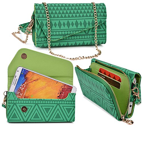 huawei-activia-4g-case-wallet-clutch-amazon-green-wristlet-and-crossbody-chain-aztec-tribal-pattern