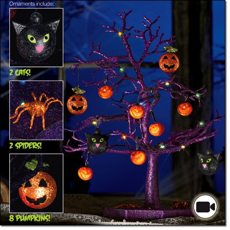 Avon-Halloween-LED-Sparkle-Tree-with-Cats-Pumpkins-And-Spiders-19-Inches