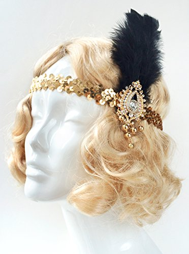 Gatsby-Feather-Headband-Gold-Band-Black-Feather-Silver-Brooch-Headband