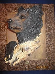 3-Deminsional Beautiful Black Bear Wall Sculpture Picture Plaque Wildlife Decoration