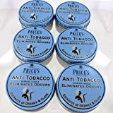 6 x Price's Anti Tobacco Candle in Tin Eliminates Tobacco and Smoking Odours