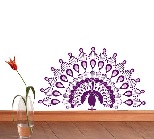 Pop Decors Removable Vinyl Art Wall Decals Mural for Nursery Room, Peacock