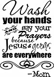 Wall Decal Bathroom Wash your hands and say your prayers because Jesus and germs are everywhere. cute Wall Vinyl art Quote Saying Sticker stencil