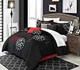 Chic Home 8 Piece Cheila Oversized and Overfilled Heavy Embroidery Contemporary Comforter Set with Shams and Decorative Pillows, King, Black