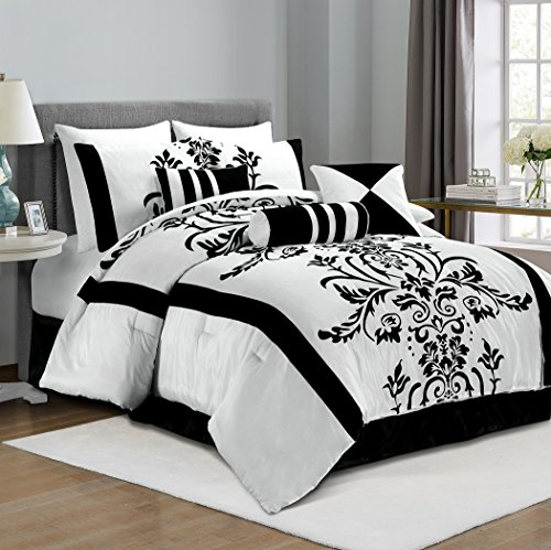 Chezmoi Collection 7-Piece White with Black Floral Flocking Comforter Set Bed-in-a-Bag for Full/Double Size Bedding, 86 by 88-Inch