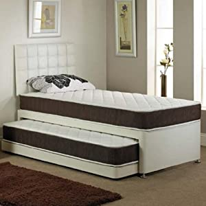 Divine Sleep 3ft Single Faux Leather Divan Guest Bed 2 Mattreesses Pull Out Bed No Head Board