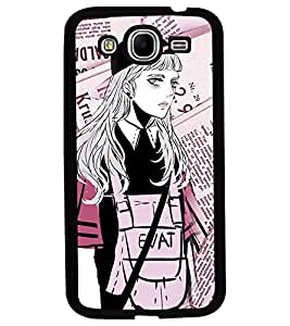 Fuson Premium Modern Girl Metal Printed with Hard Plastic Back Case Cover for Samsung Galaxy Mega 5.8 i9150 i9152