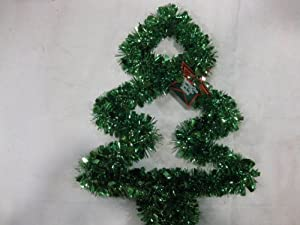 Green Tinsel Garland Wire Christmas Tree Wall Decoration / Door Hanger. This 15 Inch Tree Is A Colorful, & Festive Addition To Your Family's Holiday Decorations. Numerous Additional Coordinating Decoration Styles, Colors, Shapes And Sizes Are Available.