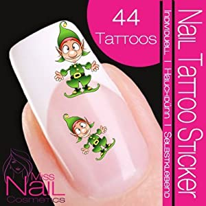 Nail tattoo sticker christmas xmas elf gnome amazon for Garden gnome tattoo designs