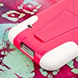 """myLife (TM) Deep Rose Pink and Bright White - Neo Hybrid Series (Built In Kickstand) 2 Piece + 2 Layer Case for NEW Galaxy S5 (5G) Smartphone by Samsung (External Hard Fit Armor With Built in Kick Stand + Internal Soft Silicone Rubberized Flex Gel Bumper Guard + Lifetime WArranty + Sealed Inside myLife Authorized Packaging) """"ADDITIONAL DETAILS: This 2 piece Galaxy S5 case comes with a built in horizontal or vertical standing kick stand that is perfect for keeping your cell phone upright while watching movies Netflix YouTube or just regular use."""""""