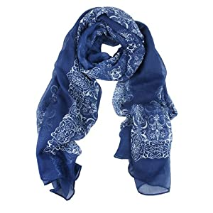niceeshop(TM) Women Girl Beige Porcelain Pattern Voile Long Scarves,Dark Blue
