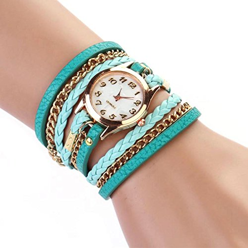 Aokdis (Tm) Hot Selling Leather Strap Braided Winding Rivet Bracelet Watches Wrist Watch