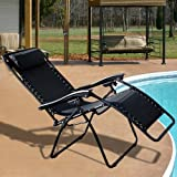 New Case of (2) Black Zero Gravity Chairs Recliner Lounge Patio Chairs Folding
