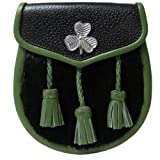 Black Rabbit Irish Kilt Sporran/Pouch - Green Shamrock Badge & Three Tassels