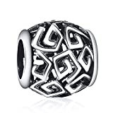925 Sterling Silver Openwork Flower Charms European Bead Fit Snake Chain Bracelet Bangle DIY Accessories Jewelry