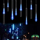 Minger Waterproof LED Falling Rain Lights with 30cm 8 Tube 144 LEDs, Meteor Shower Lights, Icicle Snow Fall String LED Cascading Lights for Wedding, Party, Holiday, Xmas Decoration (Blue)