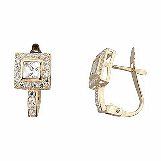 18k gold earrings cubic zirconia center stone square 4x4 [6642P]