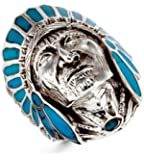 Turquoise 925 Silver Native American Indian Head Ring