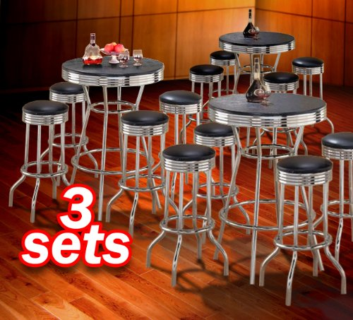 """3x 5pc Black Wood Bar Table & Commercial Restaurant Chrome Black Swivel Barstool Set 29"""""""