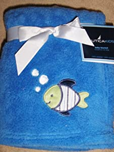 Nautica Kids Baby Boy Soft Plush Blanket Blue with Fish Applique
