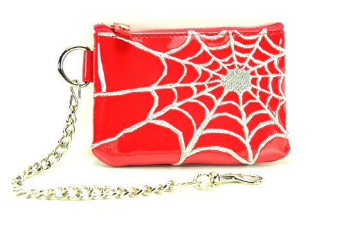 "Spider Net Embroidery Patent Leather Coin Purse with 8"" Key Chain"