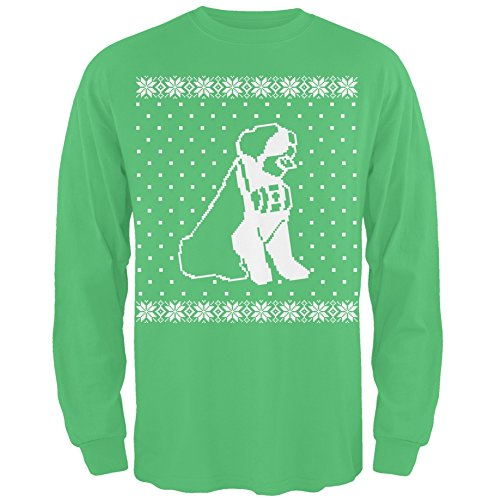 Big Saint Bernard Ugly Christmas Sweater Green Long Sleeve T-Shirt - X-Large